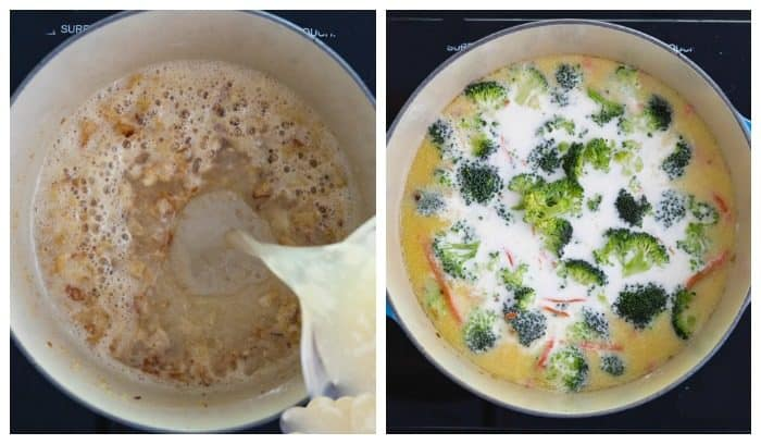 Side by side of dutch oven with chicken broth and then with broccoli and half and half