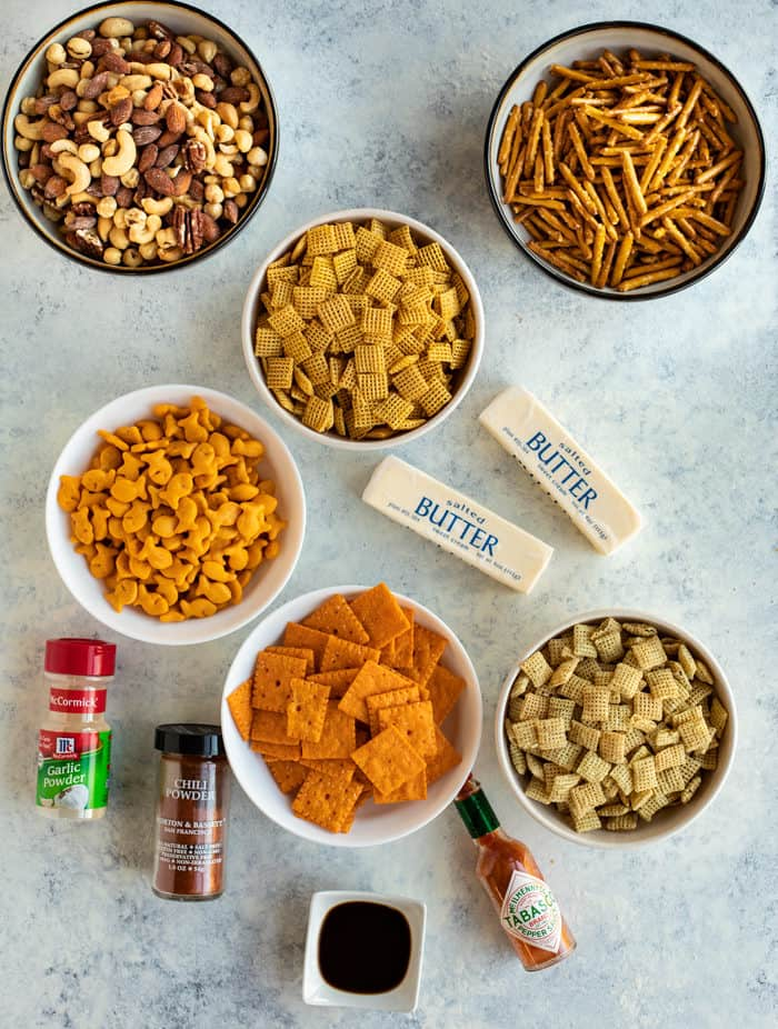 Overhead shot of all ingredients needed for spicy chex mix